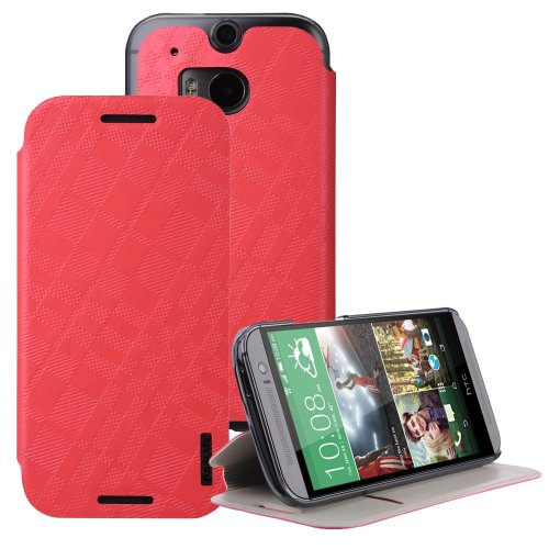 Moon Monkey Classical Check Slim Protective Cover Case For Htc One 2/M8 (Red)