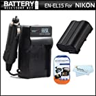 Battery And Charger Kit For Nikon D7200, D750, D7100, D7000, D600, D800, D800E, D600 D610, D810 DSLR and Nikon 1 V1 Digital Camera Includes Extended Replacement (2500Mah) EN-EL15 Battery (FULLY DECODED!) + Ac/Dc Charger + More (Battery Shows time on LCD!)