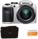 Fuji FinePix S4800 Compact Digital Camera - White (16 MP, 30x Optical Zoom) 3-Inch LCD with 8GB Class 10 Memory Card and Bridge Case