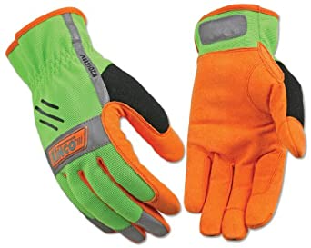 Kinco 2012HV KincoPro Hi-Visibiilty Unlined Driver Easy On Synthetic Leather Glove with Green Back, Work, Medium, Orange (Pack of 6 Pairs)