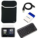 BIRUGEAR Black Universal Neoprene Sleeve Case + Bluetooth Wireless Mini Keyboard + LCD Screen Protector + Micro-USB Sync & Charge Cable + Mini Brush for Archos 80 G9 8GB Android Tablet