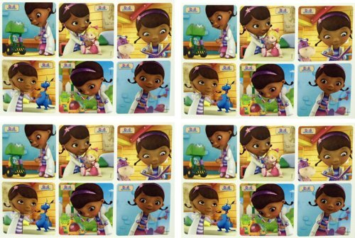 "DOC MCSTUFFINS STICKERS - Doc McStuffins Birthday Party Favor Sticker Set Consisting of 45 Stickers Featuring 6 Different Designs Measuring 2.5"" Per Sticker"