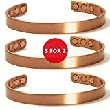 ON SALE 3 for 2 Copper Magnetic Bracelets Men Women Earth Therapy Jewelry, Most Popular Pain Relief Bangles VALUE PACK