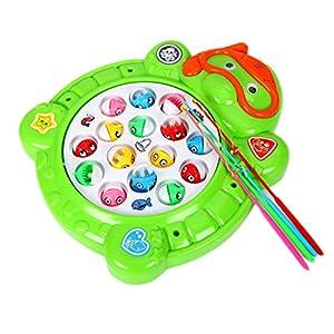 Electronic toy fishing set rotating fish game for Electronic fishing game