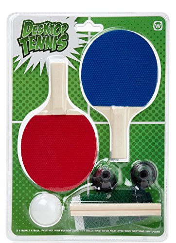 NPW Desktop Ping Pong/Table Tennis Set, Red/Blue