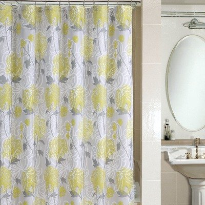Taupe-Lemon-White Floral PEM America SC7666-6201 Microfiber Shower Curtain in Zoe