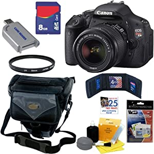 Canon EOS Rebel T3i 18 MP CMOS Digital SLR Camera with EF-S 18-55mm f/3.5-5.6 IS II Zoom Lens + 7pc Bundle 8GB Accessory Kit