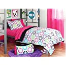 Black Pink Polka Dots Teen Full Comforter Set 8 Piece Bed In A Bag