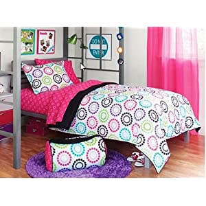 Black & Pink Polka Dots Teen Dorm Twin XL Comforter Set (6 Piece Twin Bed