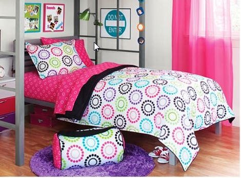 Black & Pink Polka Dots Teen Dorm Twin XL Comforter Set (6 Piece Twin Bed In A Bag)