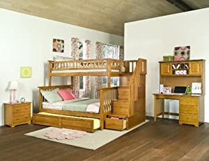 Atlantic Furniture Columbia Staircase Bunk Bed with Trundle Bed