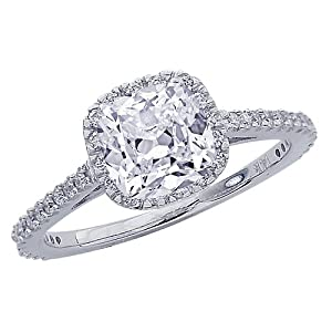 1.11 Carat Cushion Cut / Shape 14K White Gold Gorgeous Classic Cushion Halo Style Diamond Engagement Ring ( D-E Color , SI1 Clarity )
