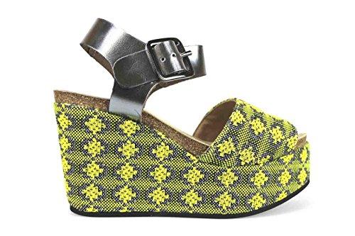 scarpe donna LOGAN sandali zeppe giallo tessuto pelle lucida AK640 (36 EU)