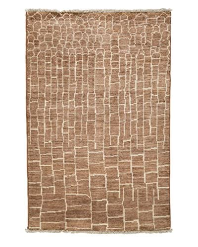 Darya Rugs Moroccan Hand-Knotted Rug, Brown, 5′ 10″ x 4′ 1″