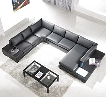 Bonded Leather Sectional Sofa Set in Black