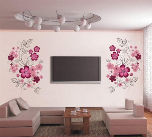 PeelCo Pink and Red Floral Design Home Wall Decal Accent - 1