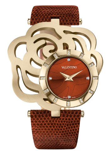 Valentino V55MBQ4144 S497 Women's Rosier brown leather lizard band watch.