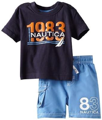(2.8折)诺帝卡Nautica Baby-Boys Infant 2 Piece 1983 Swim Set男宝短袖套$11.95 蓝