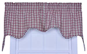 Ellis Curtain Bristol Collection Two-Tone Plaid Empress 2-Piece Lined Swag Curtain Set, Red