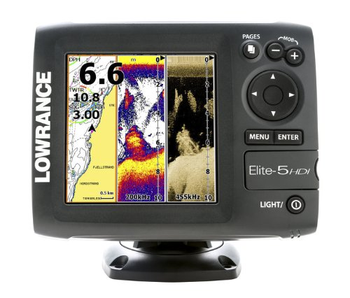 Lowrance 000-11145-001 Elite-5 HDI Combo with Basemap and 83/200-455/800 KHz Transducer (Discontinued by Manufacturer)