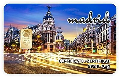Goldbarren Geschenkkarte 0,5 g 0,5g Gramm Feingold 999.9 Nadir Gold Mama Stadt Madrid