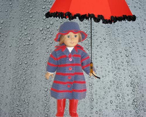 Singing in the Rain Crocheting Pattern for 18 inch dolls