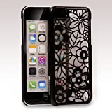 GreatShield TACT Series Design Pattern Rubber Coating Ultra Slim Fit Hard Case Cover for Apple iPhone 5C (Flora - Black)