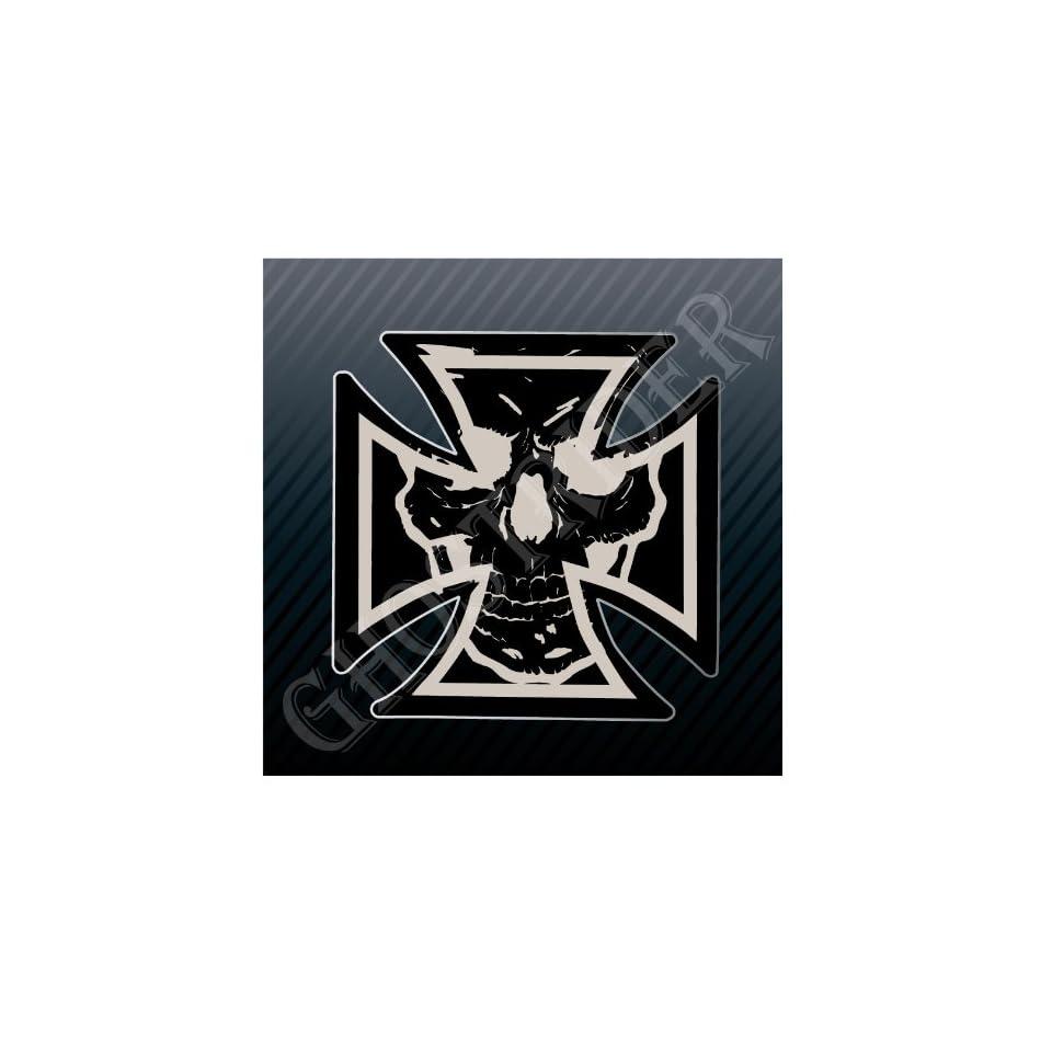 Iron Cross Skull Car Trucks Sticker Decal