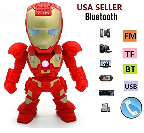 New Iron Man Wireless Bluetooth Speaker C-89 Mini Portable Children Style LED Light Speakers Stereo Music Player Support FM TF For Smartphones Tablets PC All Blutooth Devices(RED) (Iron Man Speaker compare prices)