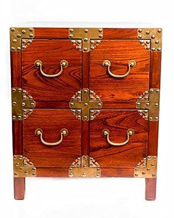 Comodino cinese mobili comodino piccolo cassetto armadio marrone con quattro cassetti rame accenti orientale asiatico soggiorno camera da letto Decor interior armadi comodini