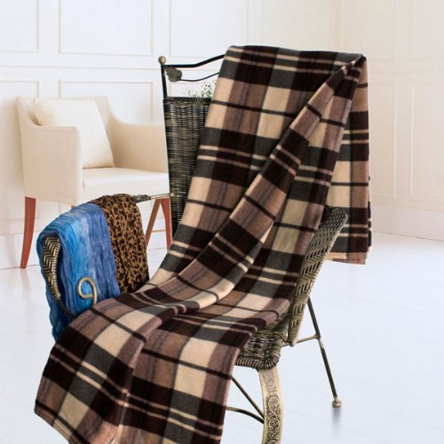 [Scotch Plaids - Dark Brown] Soft Coral Fleece Throw Blanket (71 by 79 inches)