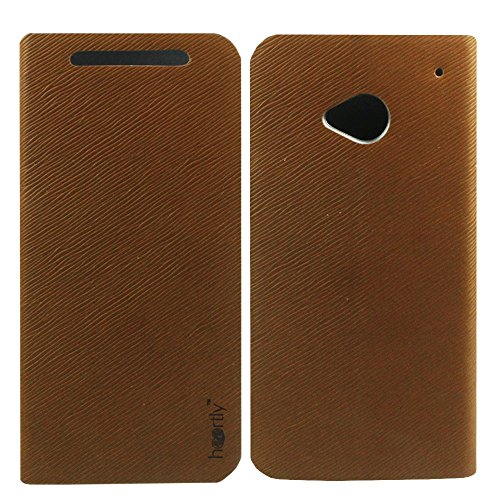 Premium Luxury PU Leather Flip Stand Back Case Cover For HTC One Dual Sim 802D 802T 802W - Brown