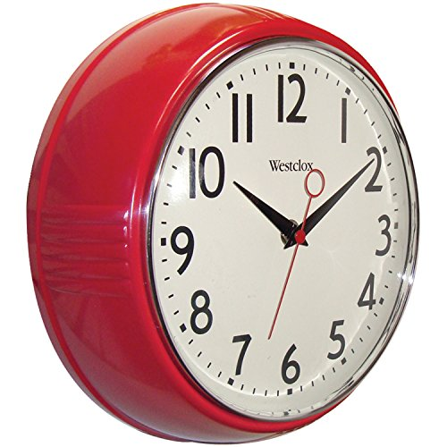 Westclox 32042R Retro 1950 Kitchen Wall Clock, 9.5-Inch