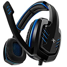 buy Sentey® Gaming Headset Blue Arrow Analog 3.5Mm In-Line Volume Control & Computer Headset With Microphone Gaming Headphones Headphone Pc, Mac Or Laptop, Tablet, Mobile Phones / Headset With Mic Heavy Duty Braided 2 Meters Cable / Leather Padded Ear Pads Wi