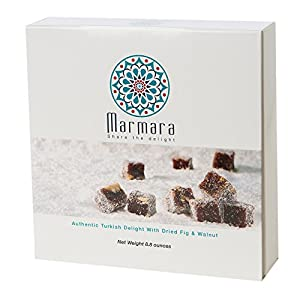 Marmara Authentic Turkish Delight with Dried Fig and Walnut / Sweet Confectionery Gourmet Box Candy Dessert 8.8 Oz