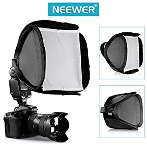"Neewer® 9"" x 9"" / 23cm x 23cm Professional Protable Foldable Off-Camera Flash Photography Studio, Portrait Soft Box with Flash Ring, Outer Diffuser and Carrying Case for Nikon SB910 SB900 SB800 SB600 , Canon 580EXII 580EX 430EXII 430EX, Sony, Pentax, Olym"