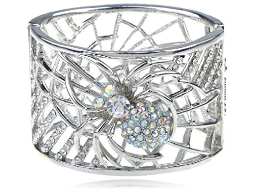 Spicy Key Silver Toned Aurore Boreale Rhinestone Spider Web Cuff Bangle Bracelet (Spiderweb Rhinestone Necklace)