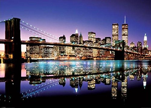 New York City Skyline-Brooklyn Bridge, Photography Giant Poster Print, 39 by 55-Inch (New York Brooklyn Bridge Poster compare prices)