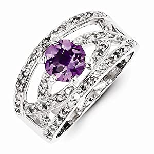 Solid 925 Sterling Silver Colored Diamond and Violet Purple February Simulated Birthstone Amethyst Engagement Ring (2/5 cttw) (4mm)
