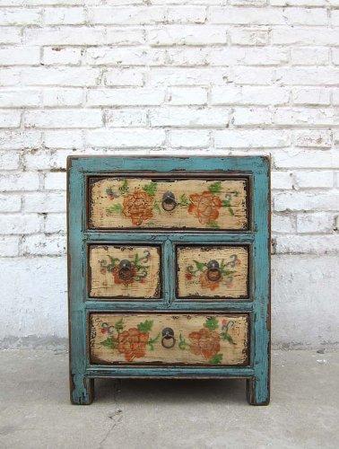 China petite commode 4 tiroirs en pin vernit corps bleu clair