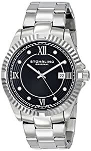 Stuhrling Original Regent Nautic Men's Quartz Watch with Black Dial Analogue Display and Silver Stainless Steel Bracelet 399G.33111