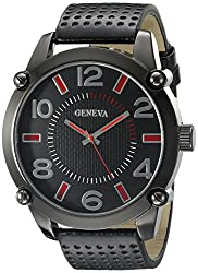 Geneva Mens FMDJM500B Analog Display Japanese Quartz Black Watch