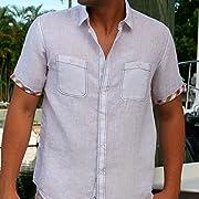 Two pockets modern lined White short sleeve linen shirt.