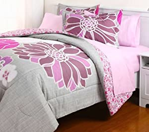 5pc gray pink reversible flower floral college dorm twin xl comforter set 5pc bed. Black Bedroom Furniture Sets. Home Design Ideas