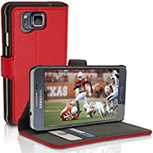 buy Igadgitz Premium Wallet Flip Red Pu Leather Case Cover For Samsung Galaxy Alpha Sm-G850F With Card Slots + Multi-Angle Viewing Stand + Screen Protector