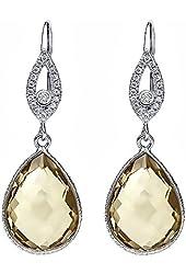 13.00 Ct Genuine Green Amethyst Pear Shape Sterling Silver Dangle Earrings