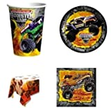 Monster Jam Birthday Party Supplies Kit Set Pack For 8 - Includes Napkins Plates Cups & Table Cover