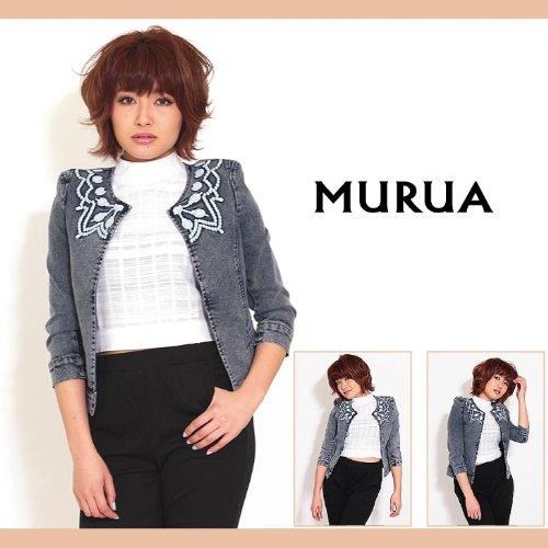 【MURUA(ムルーア)】刺繍ノーカラーデニムJK ジャケット Sサイズブルー(50)