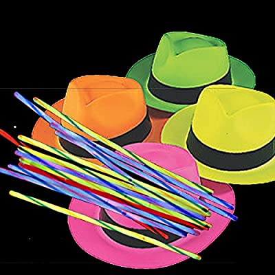 Neon Color Plastic Gangster Hats (12 Pack) AND 100 Glow Bracelets