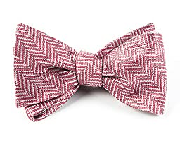 100% Woven Silk Dusty Rose Native Herringbone Patterned Self-Tie Bow Tie